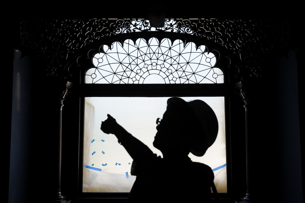 . Glendale Library Administrator Carolyn Flemming is framed by a window in a reading room during a tour of Glendale�s historic Brand Library & Art Center during the final stages of its 18-month remodel. Tuesday, July 23, 2013. (Michael Owen Baker/L.A. Daily News)