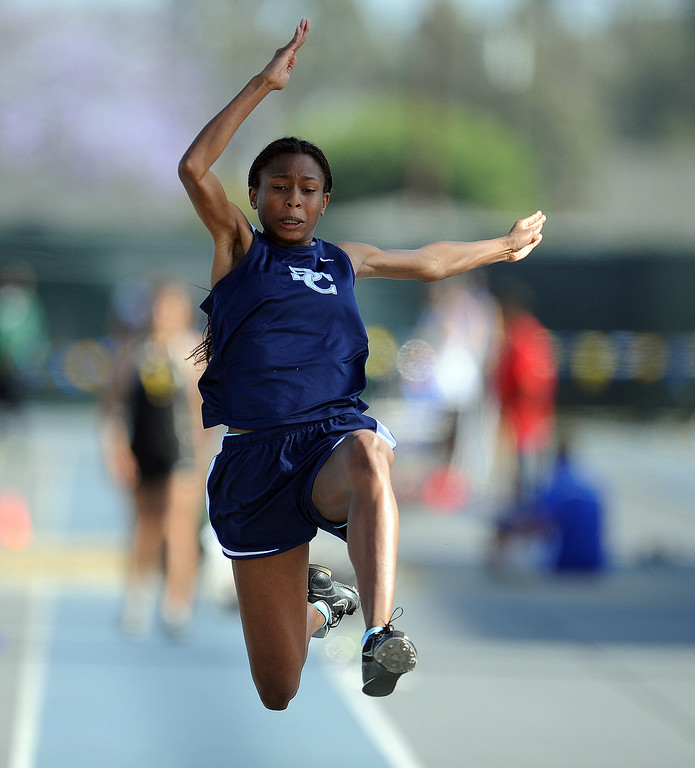 . Sierra Canyon\'s Zoe Goss in the long jump during the CIF-SS Masters Meet at Cerritos College on Friday, May 24, 2013 in Norwalk, Calif.  (Keith Birmingham Pasadena Star-News)