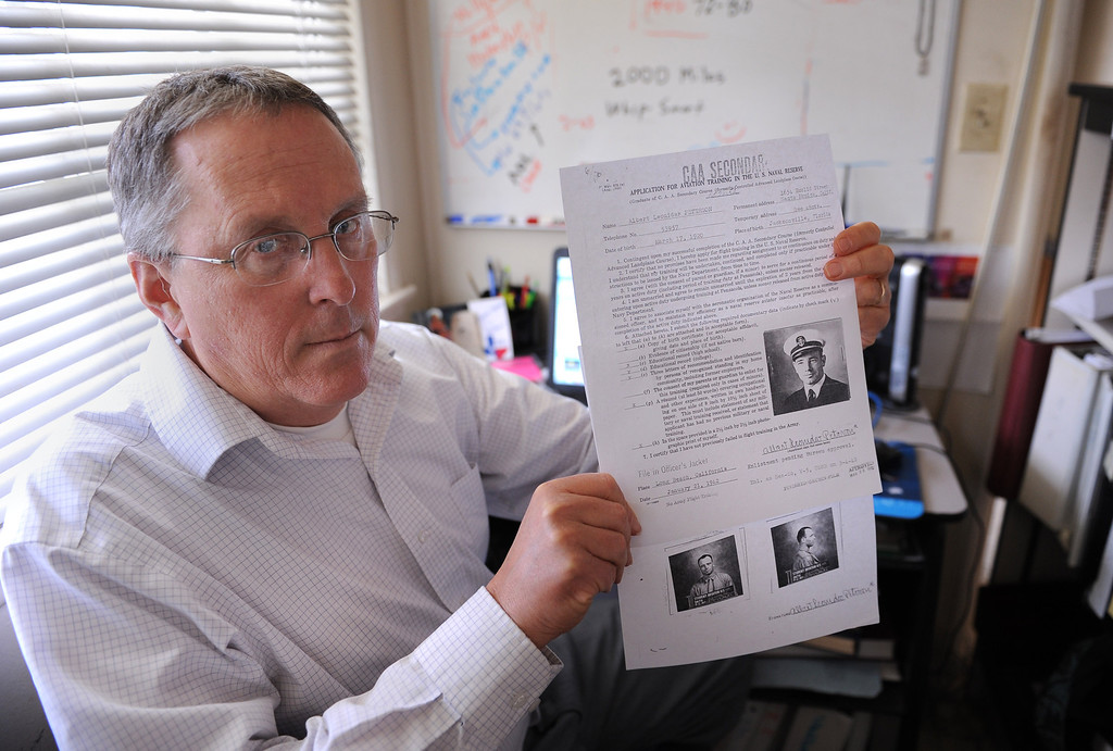 """. William \""""Bill\"""" Beigel of Torrance sits in his kitchen office space where he has been doing historical military research into the WWll deaths of UCLA alumni. Photo by Brad Graverson 3-26-13"""