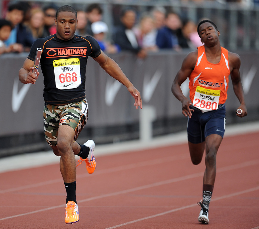 . Chaminade\'s Terrell Newby runs the 4x200 rated race during the Arcadia Invitational at Arcadia High School on Friday, April 5, 2013 in Arcadia, Calif.  (Keith Birmingham Pasadena Star-News)