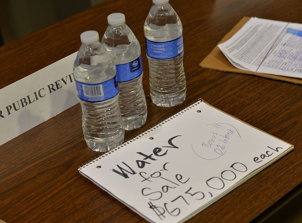 . Centinela Valley Union High School District Board of Education meeting Tuesday April 15, 2014. Meeting to focus on selecting interim-superintendent to replace Jose Fernandez who was placed on paid leave pending investigation of his controversial contract. Sarcastic note left in lobby amid resignation petitions.   Photo By  Robert Casillas / Daily Breeze