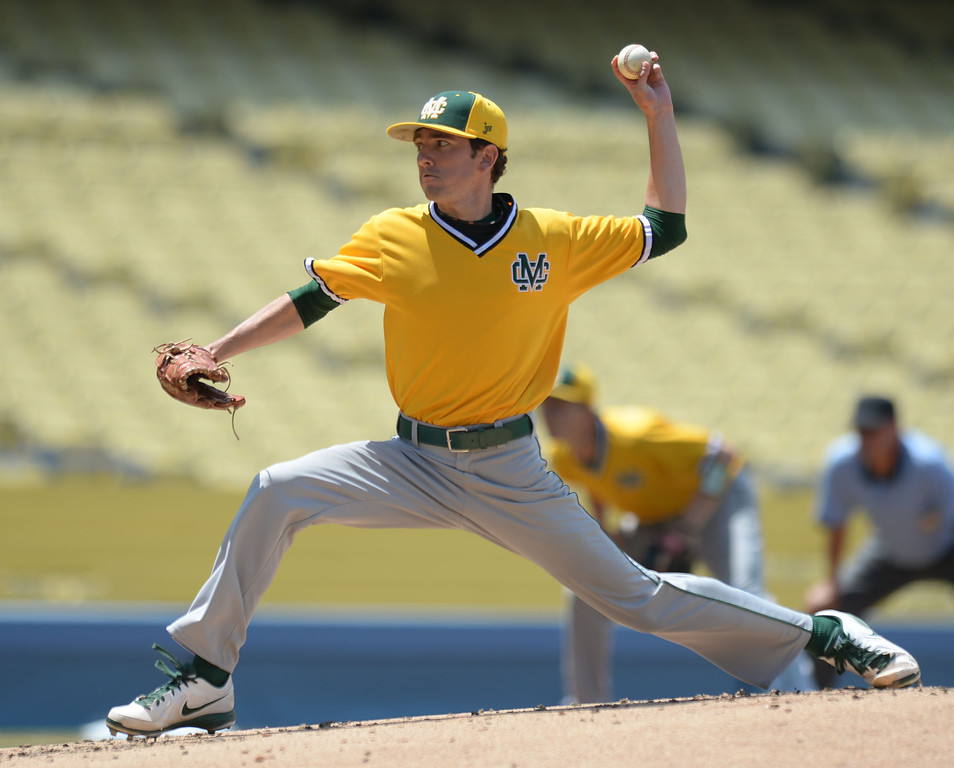 . Mira Costa\'s Chris Alcala (3) started the game against Serra in the CIF-SS Division III championship baseball game Friday at Dodger Stadium. Serra won the title, 8-1. 20130531 Photo by Steve McCrank / Staff Photographer
