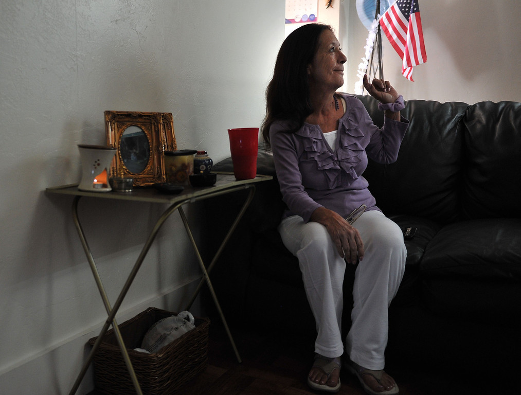 . 080813 - Penny Mull, 56, spent three years homeless, much of that time in Lincoln Park. After becoming a client of the Homeless Innovations Project of Mental Health America, Mull is now living in her own apartment in Long Beach and on her way to whole health. Photo by Brittany Murray, Press Telegram
