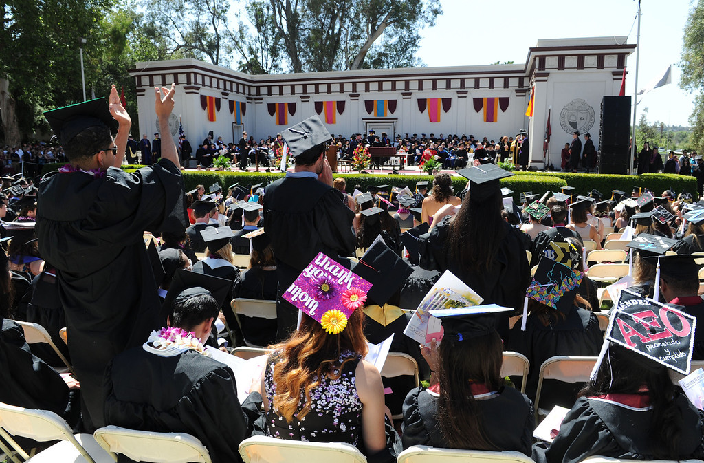 ". (John Valenzuela/Staff Photographer) University of Redlands students cheer for fellow graduates during the commencement ceremony for the University\'s 104th College of Arts & Sciences graduation, Saturday, April 20, 2013. University of Redlands alumni, Marilyn Magness Carroll, class of 1975, delivered the Commencement speech, "" If You Can Dream It, You can Do It\""."