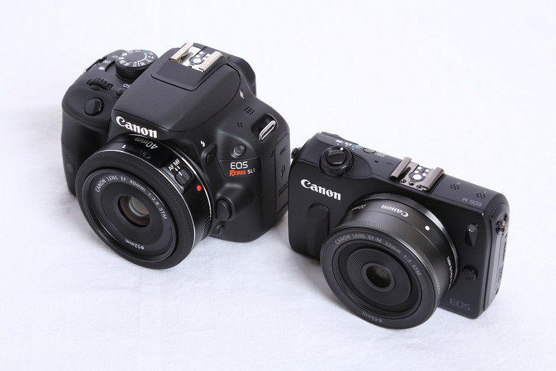 Canon EOS Rebel SL1/100D with the Canon EF 40mm f/2.8 STM lens and the Canon EOS M mirrorless digital camera with the EF-M 22mm f/2 STM lens.