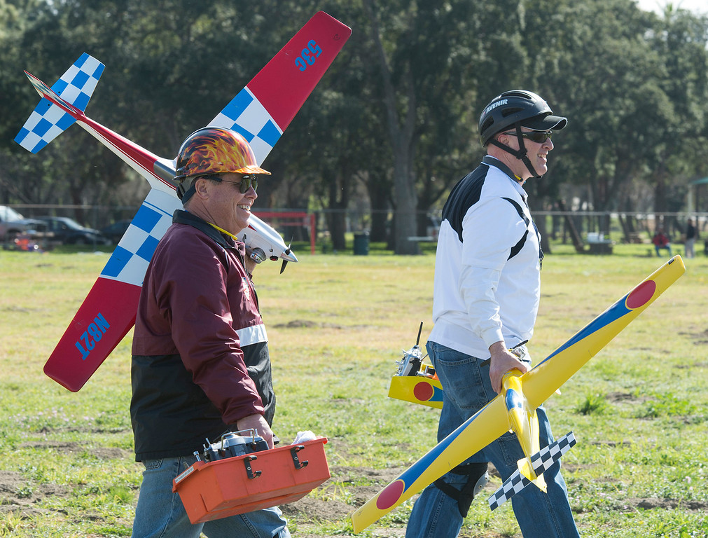 Description of . The San Gabriel Valley Radio Control League members fly their planes at Whittier Narrows Recreation Area Feb. 21, 2013 practicing for the upcoming Basin Q40 Classic pylon racing event at Apollo Field in the Sepulveda Basin this weekend.  (SGVN/Staff photo by Leo Jarzomb)