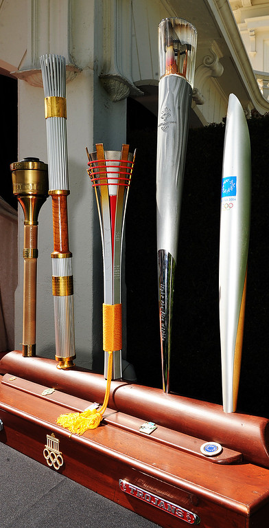Description of . Louis Zamperini, 97, who attended USC, was selected 2015 Tournament of Roses Grand Marshal.  Zamperini carried these five Olympic torches for Olympics in 1984, 1996, 1998, 2002, and 2004. Olympian and World War II prisoner of war, Louis Zamperini, a true American Hero who survived excessive hardships. (Photo by Walt Mancini/Pasadena Star-News)