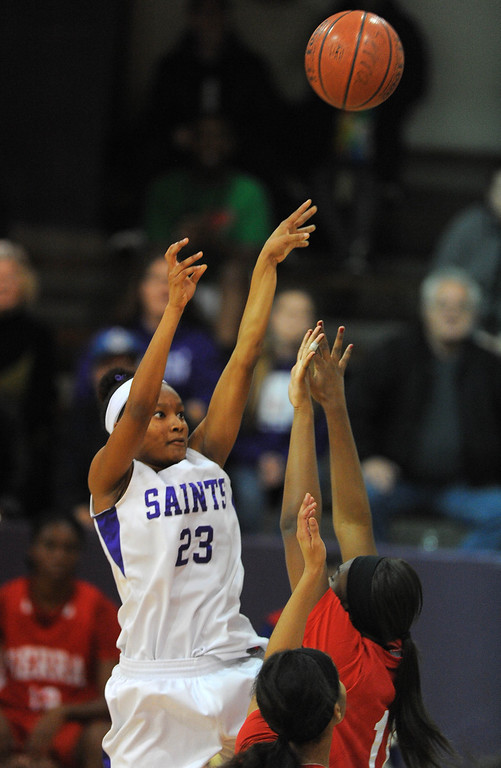 . LONG BEACH - 02/20/13 - (Photo: Scott Varley, Los Angeles Newspaper Group)  Serra and St. Anthony meet in the Quarterfinals of the Division 4AA CIF-SS girls basketball playoffs. St. Anthony\'s Adrienne Traylor shoots over the Serra defense.