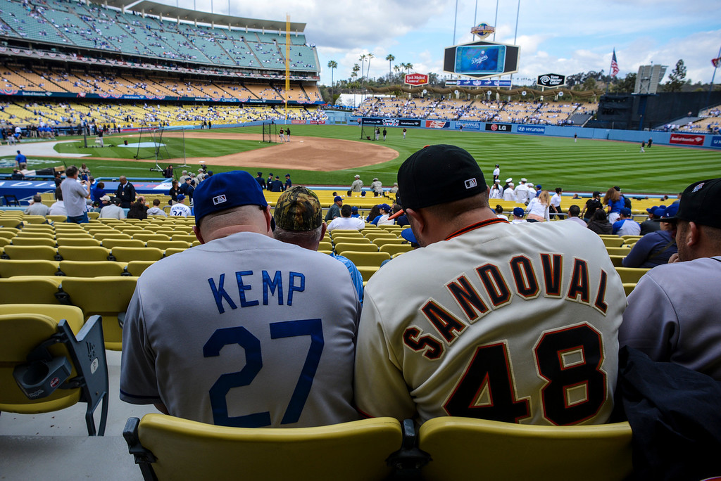 . Friends Frank Battierez from Sacramento and Kenny Torres from Bakersfield on hand to support their teams on opening day at Dodger Stadium Monday.  Photo by David Crane/Los Angeles Daily News.