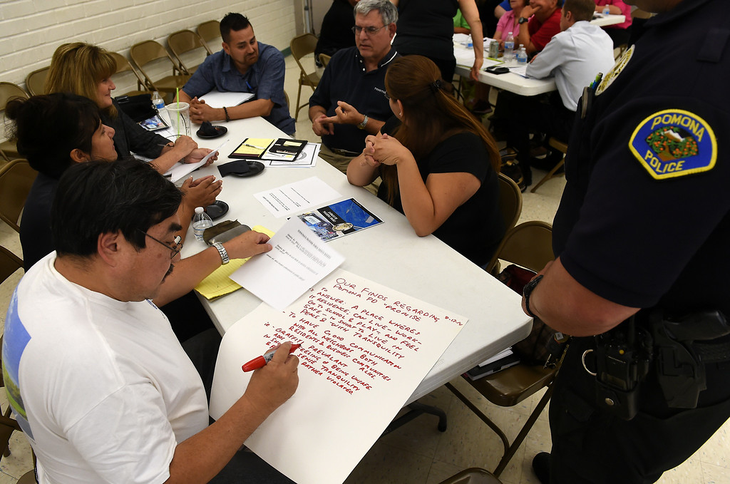 Description of . Community members answer questions in groups during Pomona's Promise Public Safety Summit at the Ganesha Park Community Center in Pomona, CA, Wednesday, August 13, 2014. (Photo by Jennifer Cappuccio Maher/Inland Valley Daily Bulletin)