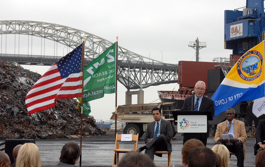 . 4/30/13 -  Longtime scrap metal exporter and Port of Long Beach tenant SA Recycling held a reception to celebrate its expansion of business to include bulk shipments of iron ore overseas. Donald B. Snyder, Director of Trade for the Port of Long Beach speaks to the crowd. These shipments are the first-ever iron ore to be exported from the Port of Long Beach. Photo by Brittany Murray / staff photographer