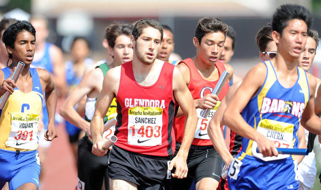 Description of . Glendora's Ryan Sanchez runs in the distance medley in the during the Arcadia Invitational at Arcadia High School on Saturday, April 6, 2013 in Arcadia, Calif.  (Keith Birmingham Pasadena Star-News)
