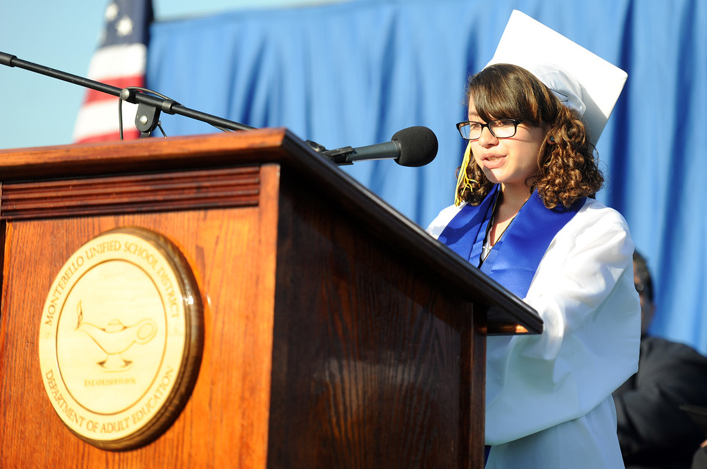 Description of . Student Maritza Mora speaks during the Montebello High School commencement at Montebello High School on Thursday, June 20, 2013 in Montebello, Calif.  (Keith Birmingham/Pasadena Star-News)