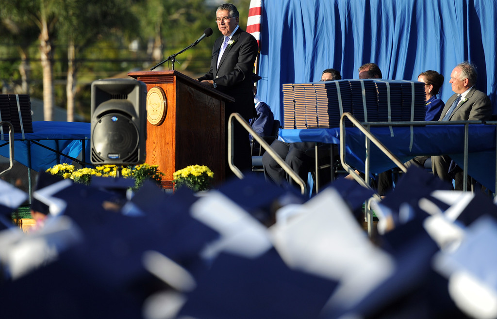 Description of . Guest speaks and 1967 Montebello High School graduate, Mr. Richard Cordova during the Montebello High School commencement at Montebello High School on Thursday, June 20, 2013 in Montebello, Calif.  (Keith Birmingham/Pasadena Star-News)