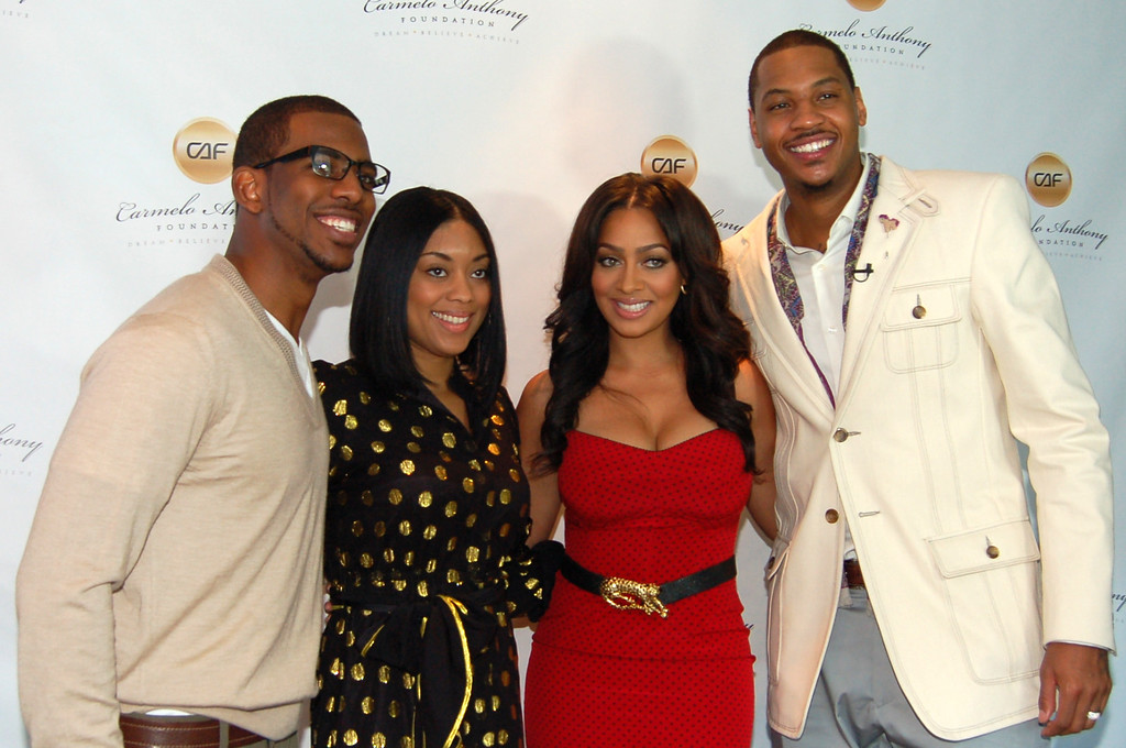 , his fiancee Jada Crawley with Carmelo Anthony and his wife LaLa