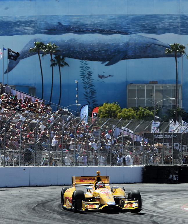 . (Will Lester/Staff Photographer)  Indycar driver Ryan Hunter-Reay drives through turn 10 during the Friday afternoon practice session April 19, 2013 at the 39th annual Toyota Grand Prix of Long Beach.