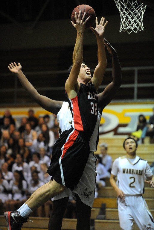 . TORRANCE - 02/15/2013 - (Staff Photo: Scott Varley/LANG) In a CIF Southern Section Division III-AAA second-round boys basketball matchup, West beat Hart 64-55. Hart\'s Nico Cruz.