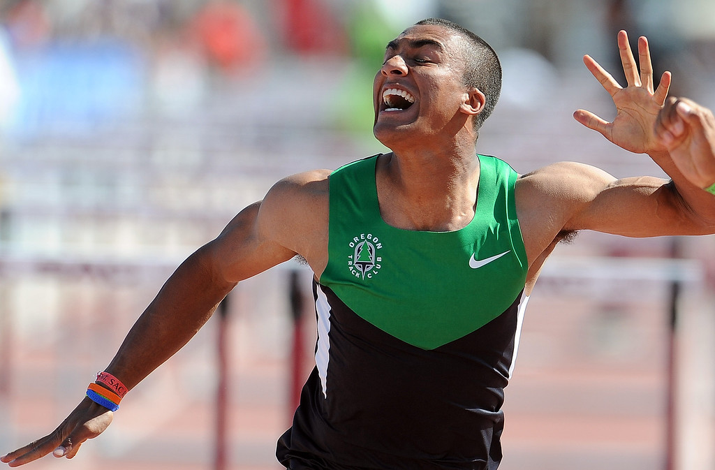 Description of . Ashton Eaton finished third in the 110 meter hurdles invitational elite during the Mt. SAC Relays in Hilmer Lodge Stadium on the campus of Mt. San Antonio College on Saturday, April 20, 2012 in Walnut, Calif.    (Keith Birmingham/Pasadena Star-News)