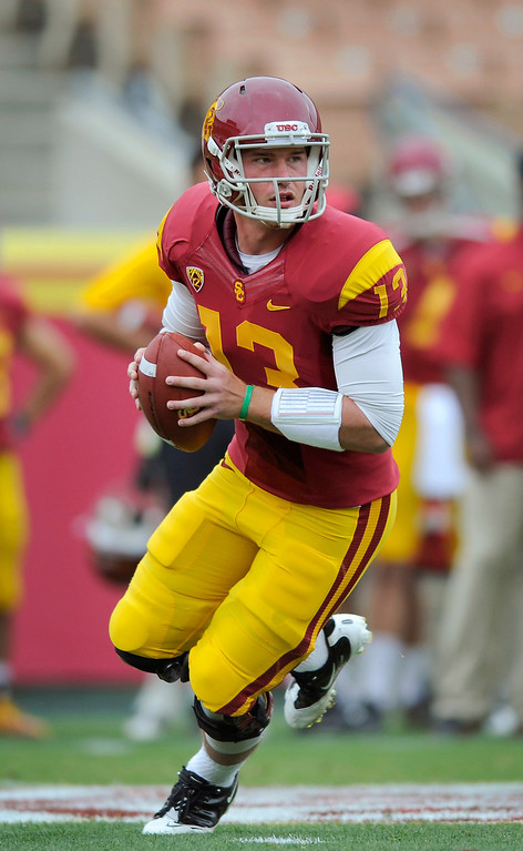 . QB Max Wittek rolls out during USC\'s Spring Football Game. (Michael Owen Baker/Staff Photographer)