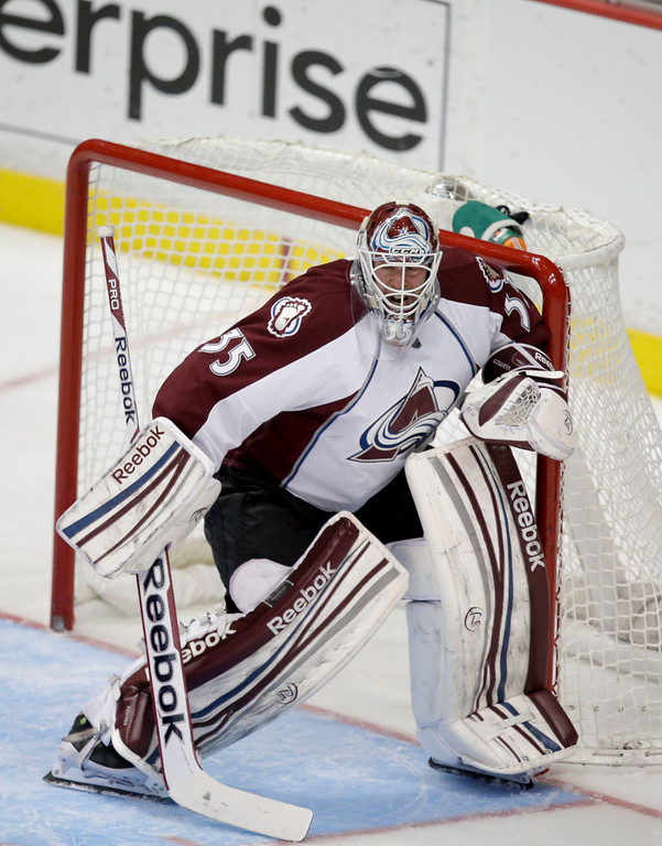 . Colorado Avalanche goalie Jean-Sebastien Giguere lookson during the third period of an NHL hockey game against the Anaheim Ducks in Anaheim, Calif., Wednesday, April 10, 2013. The Avalanche won 4-1. (AP Photo/Jae C. Hong)