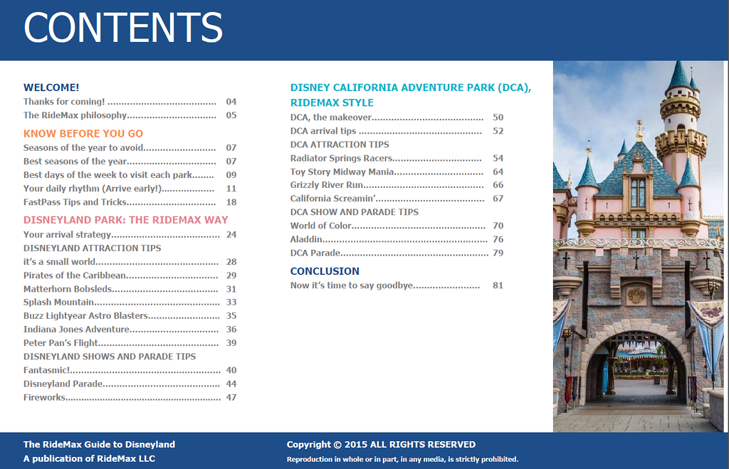 RideMax Book of Tips for Disneyland - Table of Contents