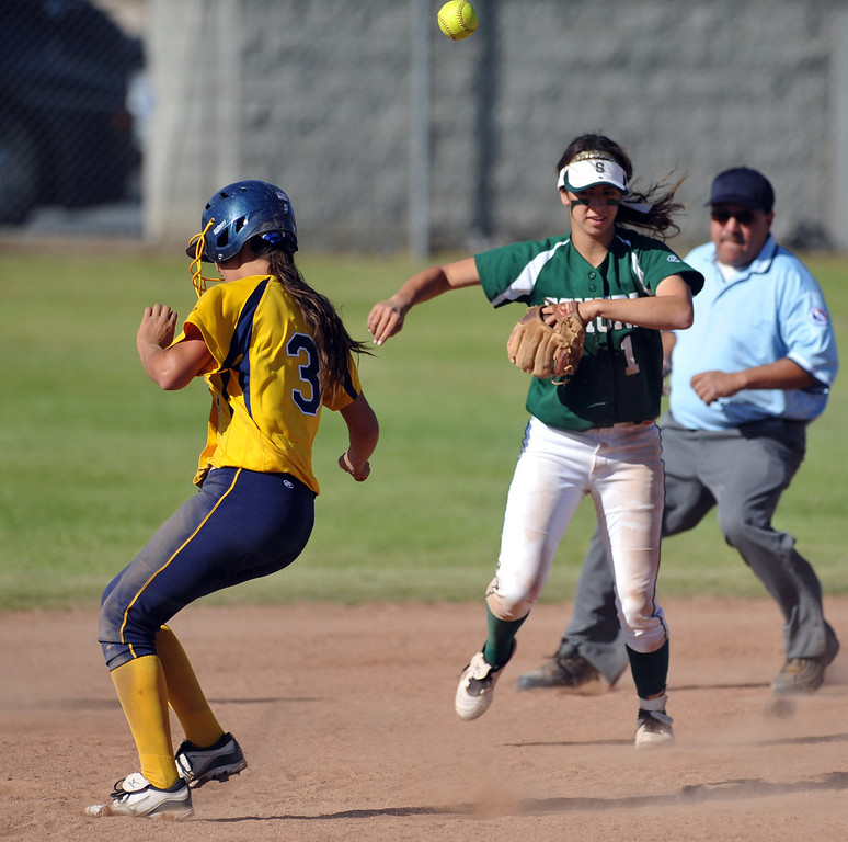 . Montebello\'s Alyssa Soneff (#3) steals second base after getting hit by the ball thrown by the catcher as they play Schurr in their Almont League girls softball game at Montebello High School on Thursday April 18, 2013. Montebello beat Schurr 10-8. (SGVN/Staff Photo by Keith Durflinger)