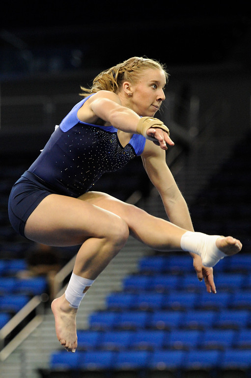 . UCLA\'s Alyssa Pritchett practices a floor exercise. (Michael Owen Baker/Staff Photographer)