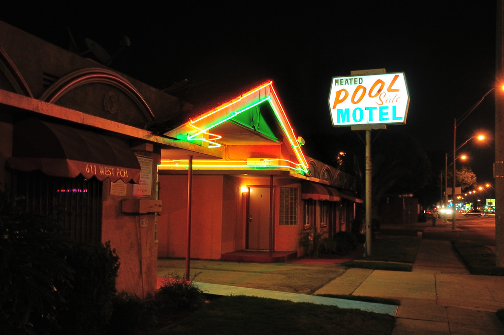 . Heated Pool Side Motel on PCH across the street from the El Capitan Motor Inn. The pool is not only not heated, but nonexistent, having been removed some time past.Photo by Thomas Wasper for the Press Telegram