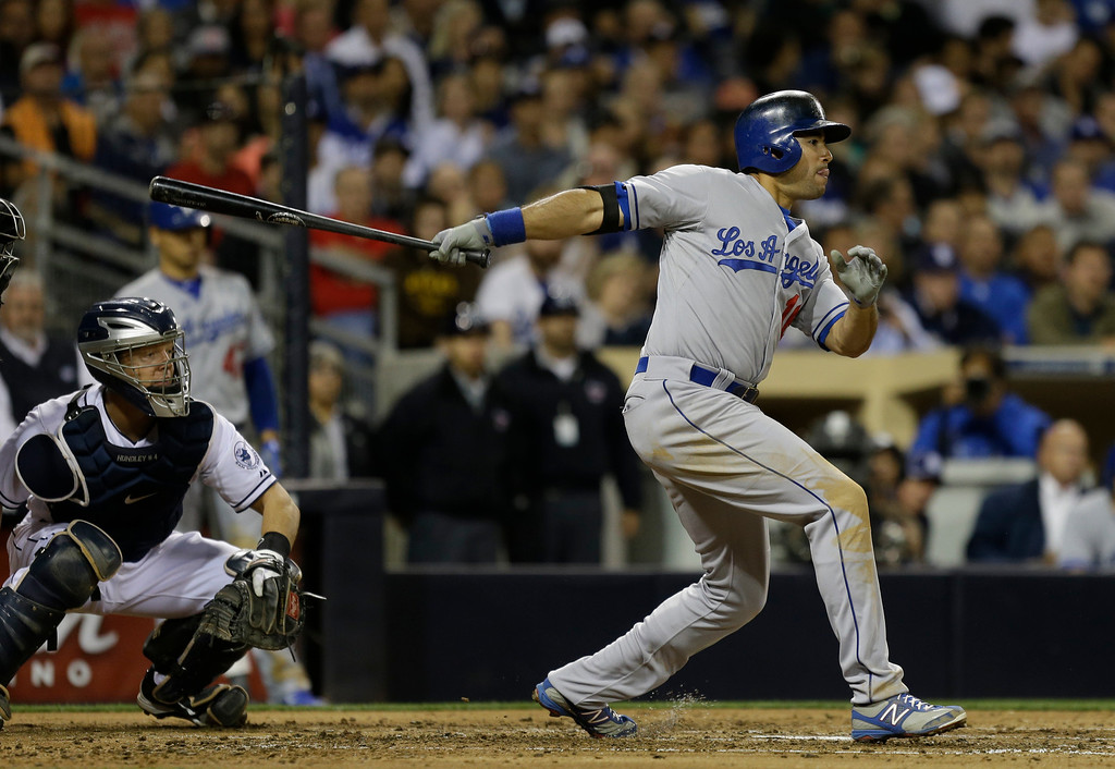 . Los Angeles Dodgers\' Andre Ethier batting against the San Diego Padres during a baseball game in San Diego, Wednesday, April 10, 2013. (AP Photo/Lenny Ignelzi)