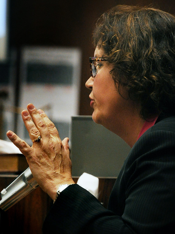 """. Dana Farrar, one of the witnesses called to the stand at the murder trial of Christian Gerhartsreiter, 52,  known as \""""Clark\"""" Rockefeller on the second day of the trial on Tuesday, March 19, 2013 at Clara Shortridge Fortz Criminal Justice Center in Los Angeles.  Gerhartsreiter is a German immigrant who masqueraded as a member of the Rockefeller family. He is charged with murder of John Sohus, 27, whose bones were unearthed from the backyard of the home in San Marino, California, in 1985.  Sohus\' wife, Linda, has never been found. (SGVN/Photo by Walt Mancini/LANG)"""