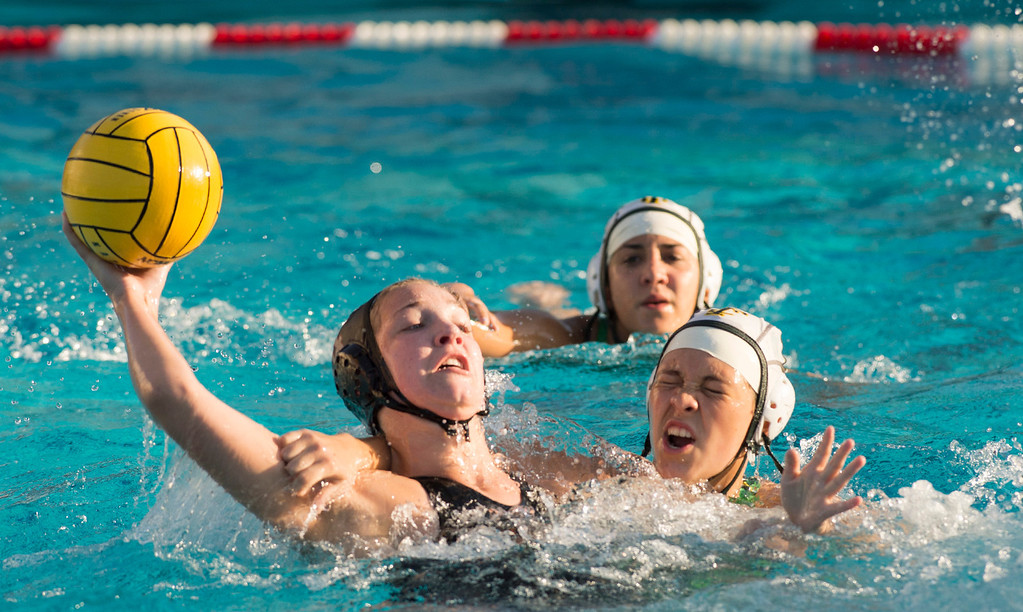 Description of . La Serna High's Katie Hill is fouled taking a goal shot vs Temple City High in the CIF-SS girls water polo first-round game at Whittier High Feb. 14, 2013.   (SGVN/Staff photo by Leo Jarzomb)