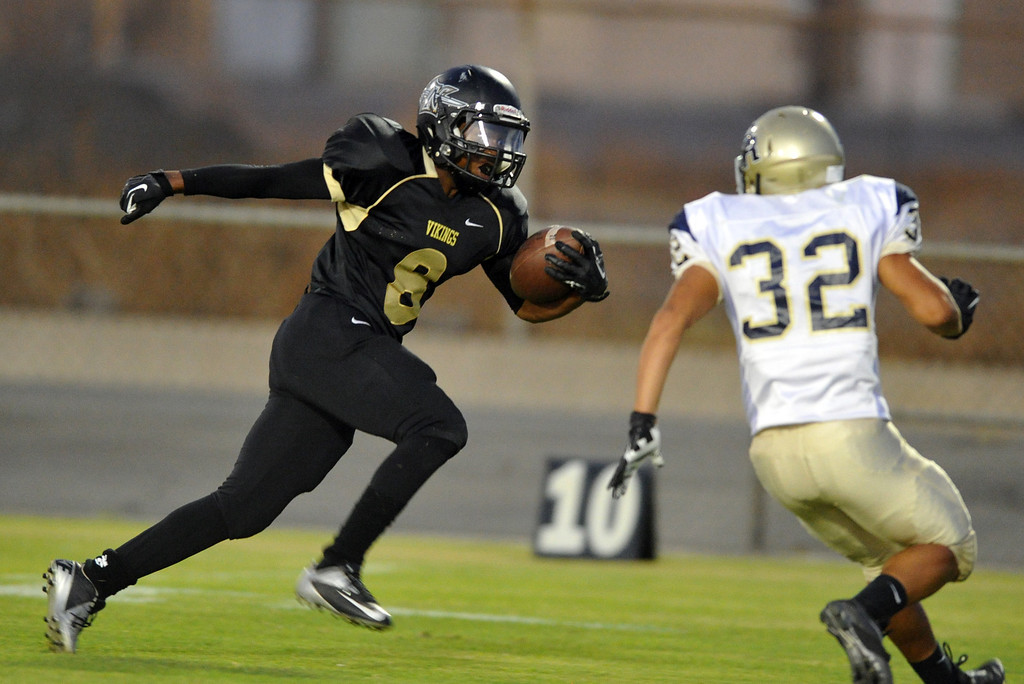 Description of . Northview runningback Christeon Blackmon (#8)  carries the ball just short of a touchdown in the first quarter as they play Rowland in their non-league game at Covina District Field in Covina on Friday September 13, 2013.  (San Gabriel Valley Tribune/Staff Photo by Keith Durflinger)