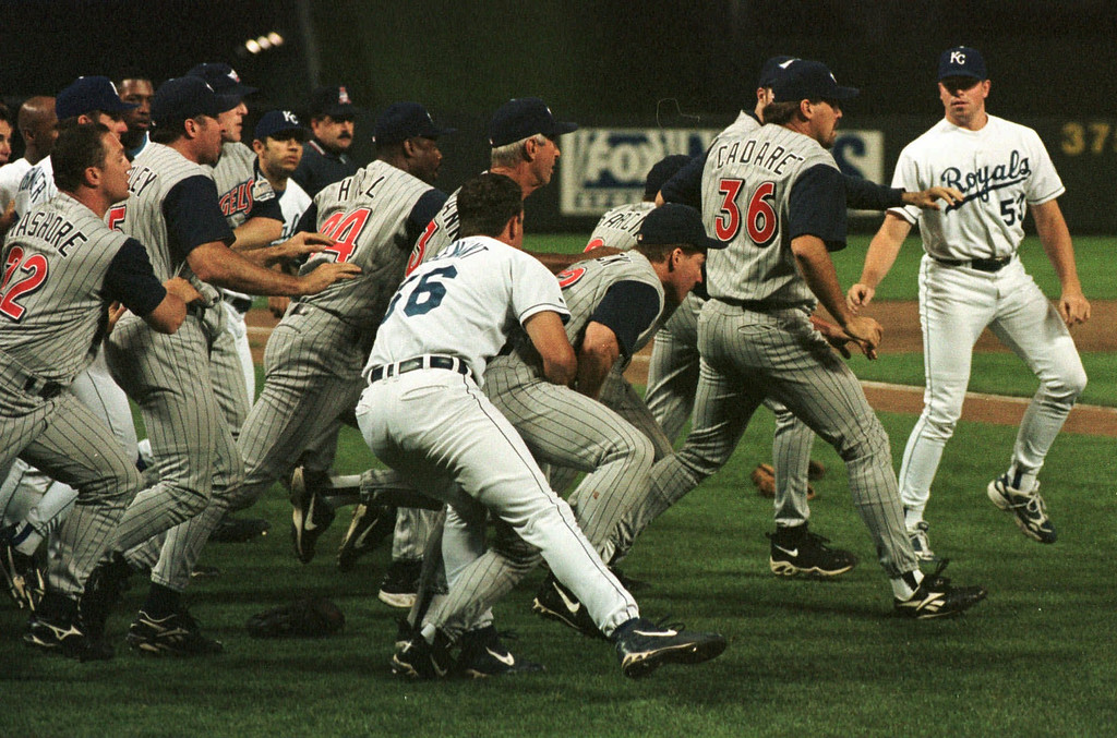 . Anaheim Angels and Kansas City Royals empty their benches during the ninth inning Tuesday, June 2, 1998, in Kansas City, Mo. A fight broke out when Royals\' Jose Offerman was hit by a pitch and both teams emptied on to the fields. The Angels beat the Royals 7-5. (AP Photo/Orlin Wagner)