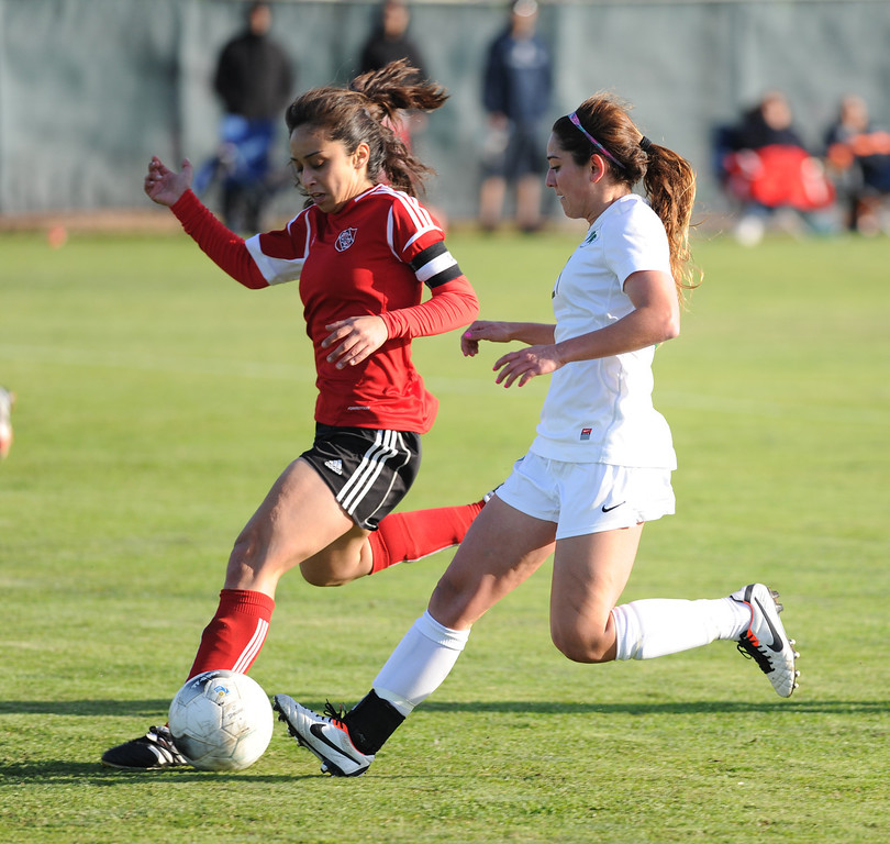 . 02-21-2012--(LANG Staff Photo by Sean Hiller)- Jessica Nakae, right, and the South Torrance girls soccer team beat Artesia 5-0 in Thursday\'s CIF Southern Section Division IV quarterfinal at South High.