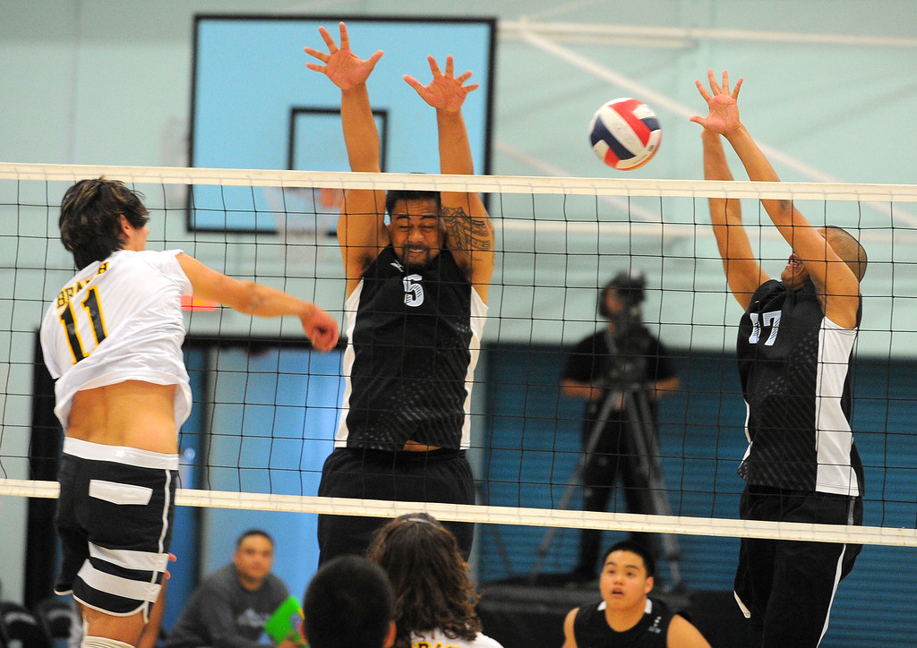 . CARSON - 04/09/2013  (Photo: Scott Varley, Los Angeles Newspaper Group)  San Pedro vs Carson boys volleyball. Carson won 3-0.