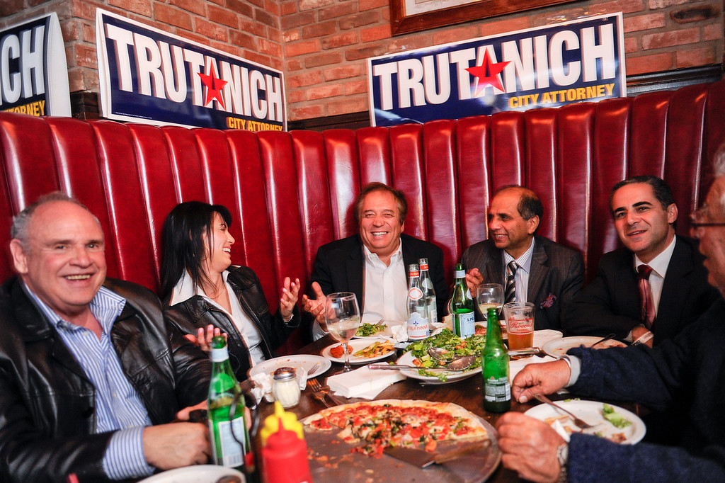 . Carmen Trutanich supporters enjoy pizza at the campaign party at Rocco\'s Tavern in Studio City, Tuesday, March 5, 2013. (Michael Owen Baker/Staff Photographer)