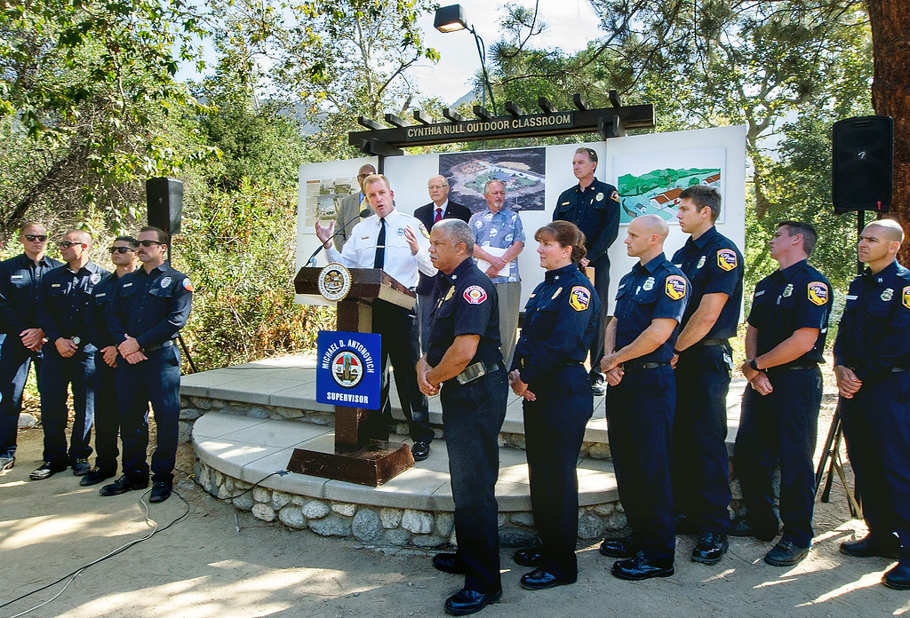 Description of . Cal Fire Captain Mike Mohler, Southern Region speaking at wildfire prevention news conference  at Eaton Canyon Nature Center in Pasadena Friday, June 20, 2014. This summer fire season starts Saturday and may be even more fiery than usual, climatologists say. After years of drought, a warmer-than-average fall, winter and spring with 40 percent less rain this year, the Southland could be in for an especially scorching fire season. (Photo by Walt Mancini/Pasadena Star-News)