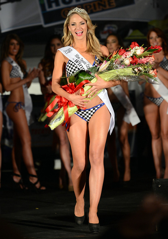 . Long Beach, Calif., -- 04-18-13-  Lorin Hartwell, newly crowned 2013 Tecate Light Miss Toyota Grand Prix of Long Beach Thursday night on Pine Avenue at the Tecate Light Thunder Thursday on Pine.   Stephen Carr/  Los Angeles Newspaper Group