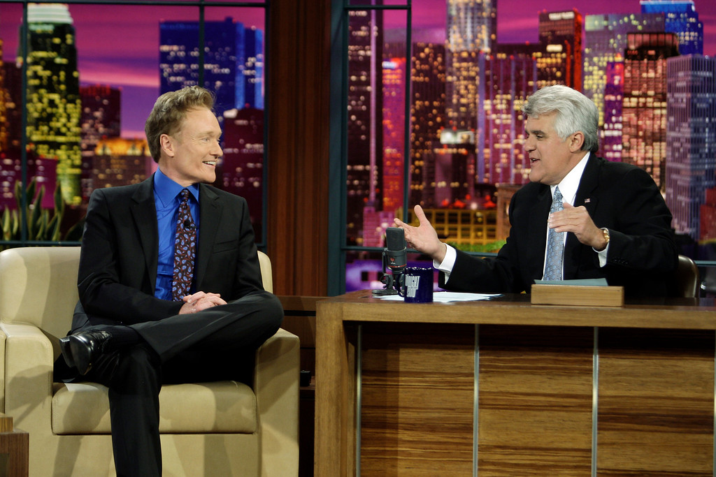 . In this photo provided by NBC, Conan O\'Brien interviewed by Jay Leno during Leno\'s final taping as host of The Tonight Show in Burbank, Calif. on Friday, May 29, 2009. (AP Photo/NBC, Paul Drinkwater) **MAGS OUT, NO ARCHIVING, NO SALES**
