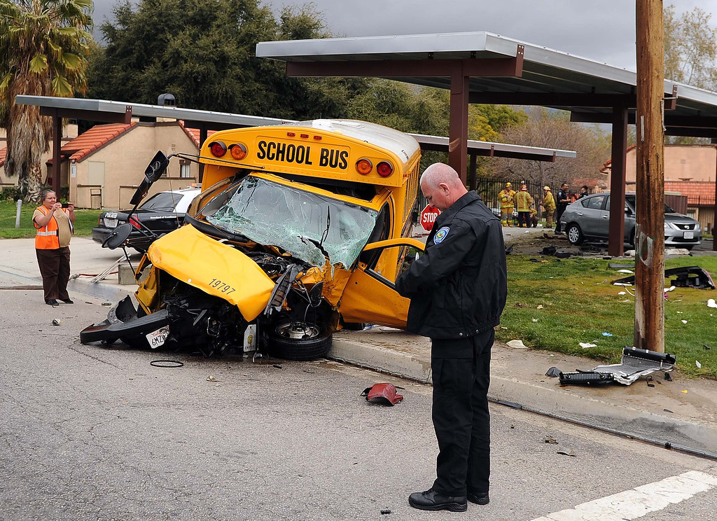 Description of . Three people are in critical condition after a crash involving a school bus and an sports utility vehicle occurred this afternoon in northwest area of San Bernardino. The crash was reported at 1:34 p.m. in the 2000 block of North California Street, at 20th Street, according to police. There were no children on the bus, but the bus driver and two elderly occupants of a red Jeep sport-utility vehicle were injured,