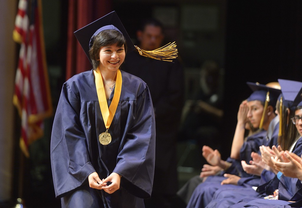 . TORRANCE, CALIF. USA -- Marlene Vazquez during commencement ceremonies for Lennox Math, Science & Technology Academy at El Camino College in Torrance, Calif., on June 8, 2013.   Photo by Jeff Gritchen / Los Angeles Newspaper Group