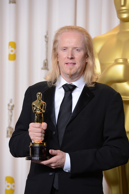 """. Paul N.J. Ottosson accepts the award for best sound editing for \""""Zero Dark Thirty\""""  backstage at the 85th Academy Awards at the Dolby Theatre in Los Angeles, California on Sunday Feb. 24, 2013 ( David Crane, staff photographer)"""