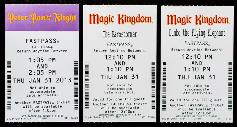 FastPass tickets for Peter Pan, Dumbo, and Barnstormer