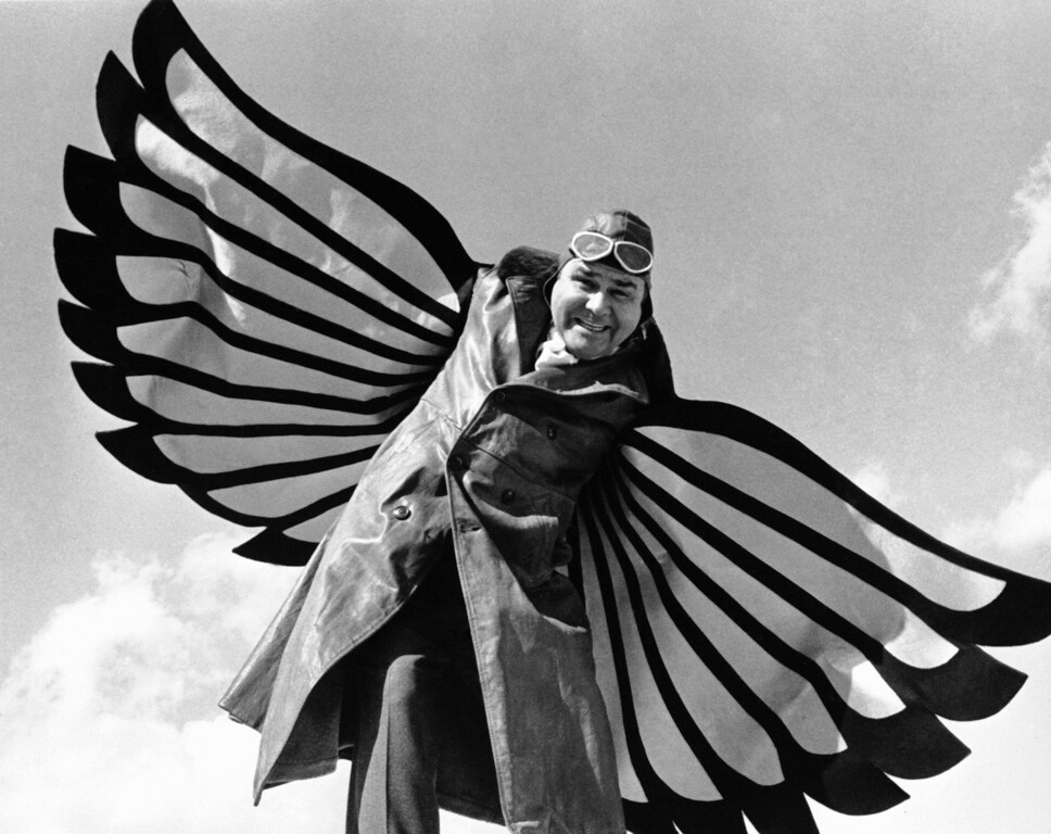 . In this photo provided by CBS-TV, comedian Jonathan Winters of ?The Jonathan Winters Show,? is shown Dec. 27, 1967 during a salute to the 64th anniversary of the world?s first powered, sustained and controlled airplane flight at Kitty Hawk, N.C.   (AP Photo/CBS-TV) No Sales