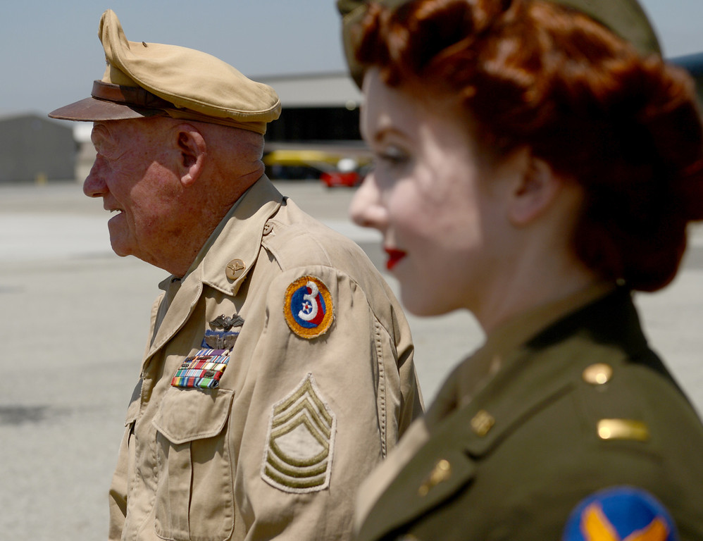. Wilbur Richardson, 90 of Chino, and  WWII B-17 Bomber in Chino April 29, 2013. he Boeing B-17 Flying Fortress is a World War II bomber used primarily in Europe. B-17s from the Eighth Air Force participated in countless missions from bases in England. These missions often lasted for more than eight hours and struck at targets deep within enemy territory. Because of their long-range capability, formations of B-17s often �ew into battle with no �ghter escort, relying on their own defensive capabilities to ensure a successful mission. (Thomas R. Cordova/Staff Photographer)