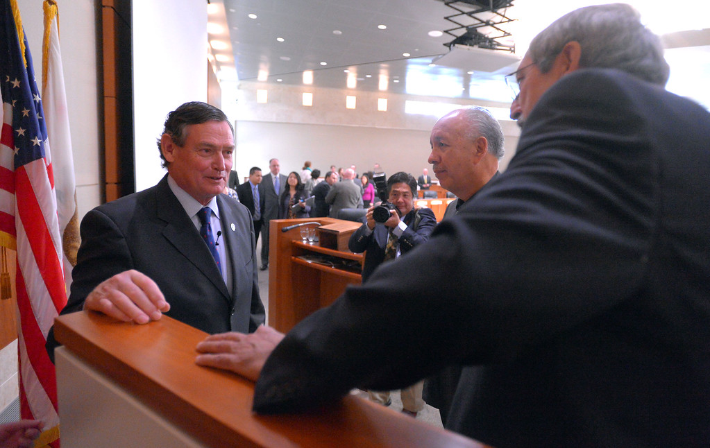 . Following his State of the CSU address, CSU Chancellor Timothy P. White greets colleagues in Long Beach, CA on Wednesday, January 29, 2014.  (Photo by Scott Varley, Daily Breeze)