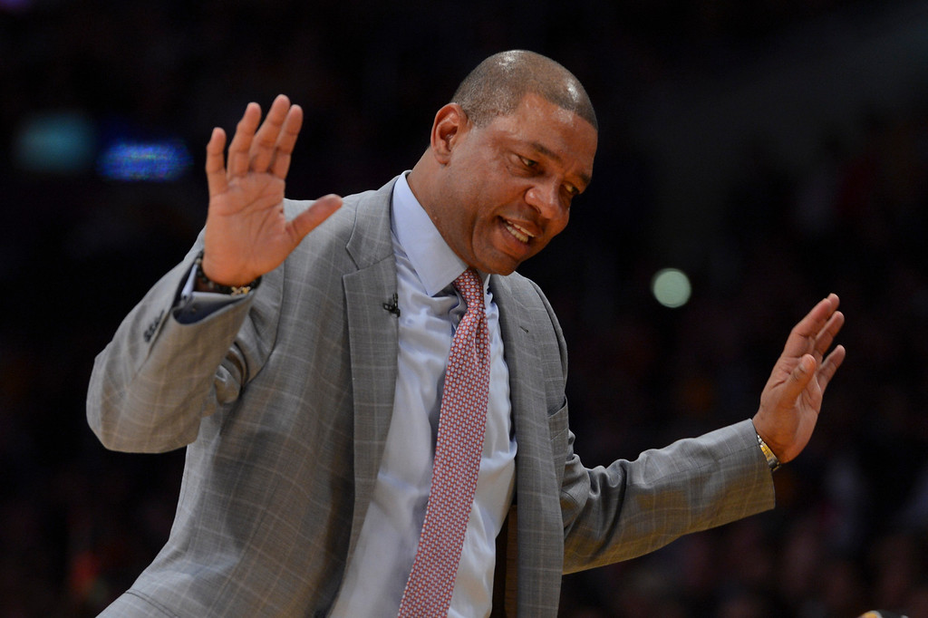 . Celtics\' coach Doc Rivers reacts to a technical foul during second half action at Staples Wednesday. Lakers defeated the Celtics 113-99.  Photo by David Crane/Staff Photographer