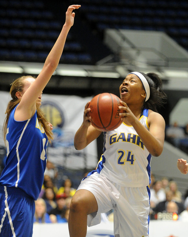 . 02-27-2012--(LANG Staff Photo by Sean Hiller)- Gahr vs. Agoura in Wednesday\'s girls basketball D3AAA title game at Anaheim Arena. Gahr\'s Jasmine Gates (24) is pressured from making a basket by Agoura\'s Kim Jacobs (15).