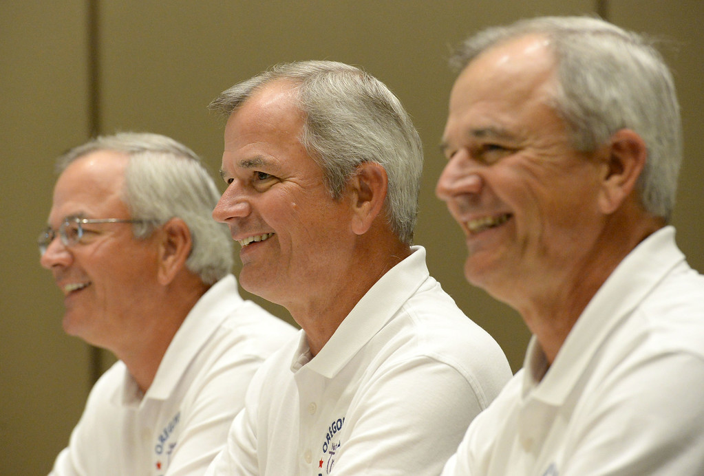. Triplets from around the globe converged at the Crowne Plaza Hotel for the National Triplet Convention Saturday, July 12, 2014, Redondo Beach, CA.  Triplets, all living in Oregon, from left: Joe, Jim and Gerry Kosanovic, 65, speak at the meeting. Photo by Steve McCrank/Daily Breeze
