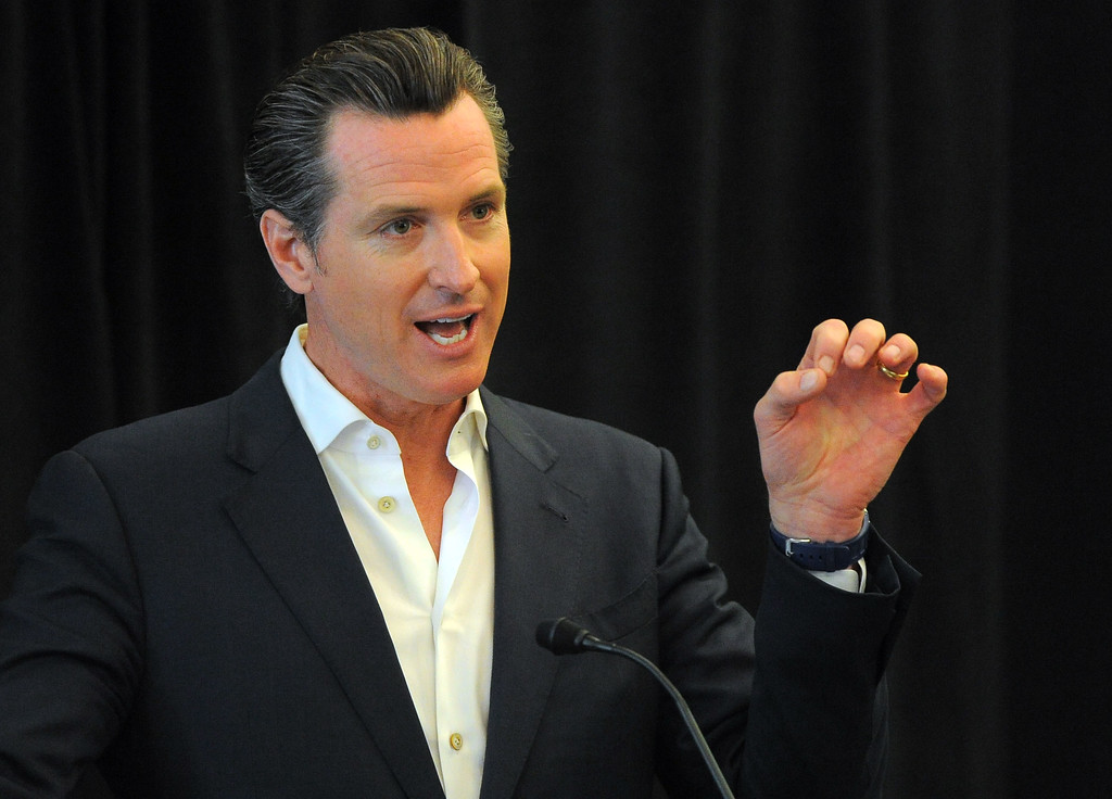 . Lt. Gov. Gavin Newsom delivers remarks before a forum to discuss report on higher education at Long Beach City College on Wednesday, April 30, 2014. (Photo by Scott Varley, Daily Breeze)